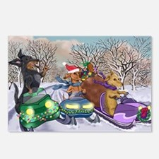 Snowmobile Dachshunds Postcards (Package of 8)