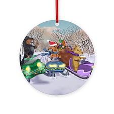 Dachshund Christmas Snowmobiles Round Ornament
