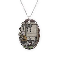 Angry Racoons Necklace Oval Charm