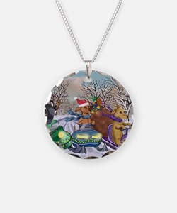 Weiner Dogs Snowmobiling Necklace