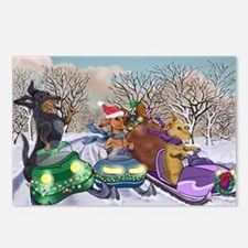 Weiner Dogs Snowmobiling Postcards (Package of 8)