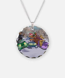 Snowmobiling Dachshunds Necklace