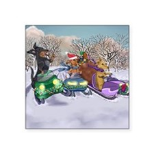 "Snowmobiling Dachshunds Square Sticker 3"" x 3"""