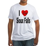 I Love Sioux Falls (Front) Fitted T-Shirt