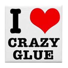 I Heart (Love) Crazy Glue Tile Coaster