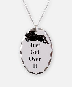 Just Get Over It Horse Jumper Necklace Oval Charm