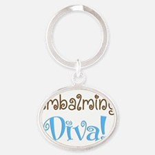embalming diva brown blue Oval Keychain