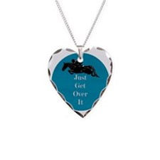 Just Get Over It Horse Jumper Necklace Heart Charm