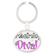 embalming diva pink Oval Keychain