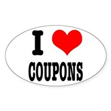 I Heart (Love) Coupons Oval Decal