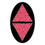 Pink Triangle Knot Oval Sticker