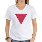 Pink Triangle Knot Women's V-Neck T-Shirt