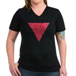 Pink Triangle Knot Women's V-Neck Dark T-Shirt