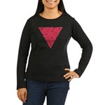 Pink Triangle Knot Women's Long Sleeve Dark T-Shir