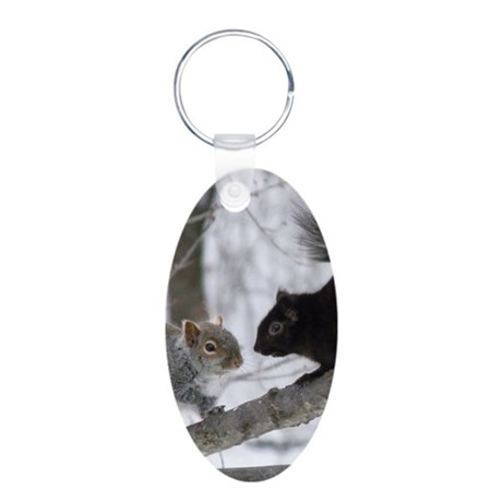 Black Squirrel Aluminum Oval Keychain