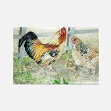 Rooster, Hen and Chicks - Sm GCB Rectangle Magnet