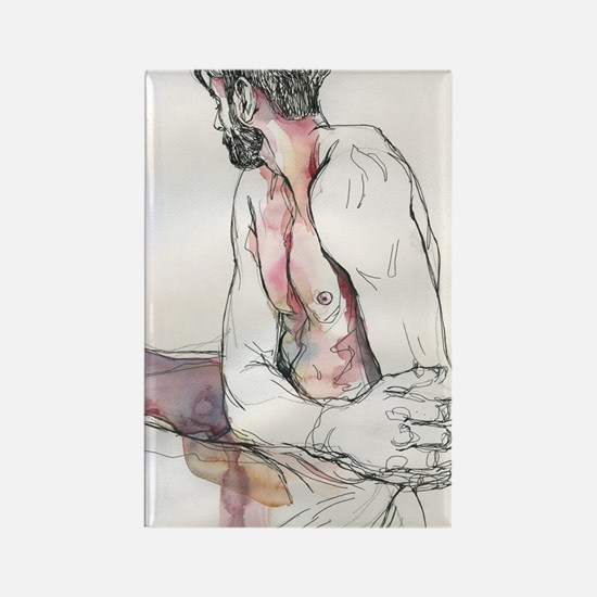 Watercolor male figure Rectangle Magnet