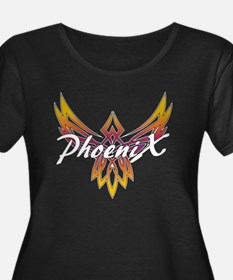 Phoenix  Women's Plus Size Dark Scoop Neck T-Shirt