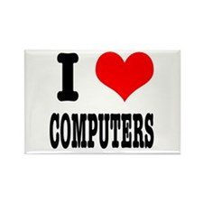 I Heart (Love) Computers Rectangle Magnet