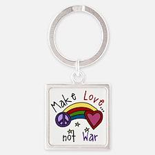Make Love Square Keychain