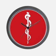 Rod of Asclepius Seal Wall Clock