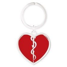 Rod of Asclepius Seal Heart Keychain