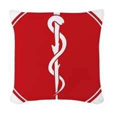 Rod of Asclepius Seal Woven Throw Pillow