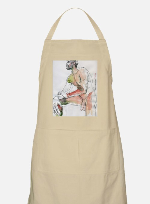 Watercolor male figure Art journal Apron