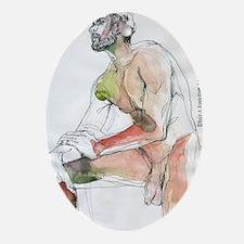 Watercolor male figure Art journal Oval Ornament