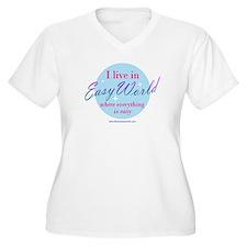 Women's Plus Size V-Neck Easy World T-Shirt