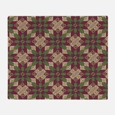 Quilted Green Burgundy Star Throw Blanket