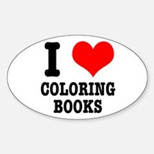 I (Heart) Love Coloring Books Oval Decal