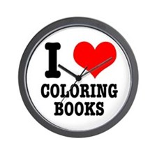 I (Heart) Love Coloring Books Wall Clock