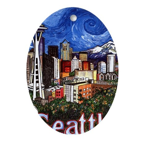 Seattle Skyline Oval Ornament