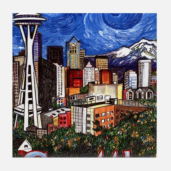 Seattle Skyline Tile Coaster