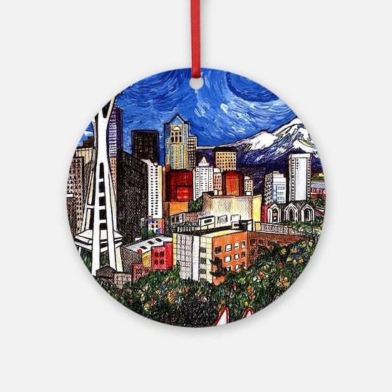 Seattle Skyline Round Ornament