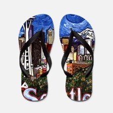 Seattle Skyline Flip Flops