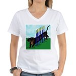 An Agility Dachshund? Women's V-Neck T-Shirt