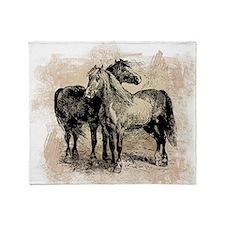 Vintage Horse Love Throw Blanket