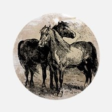 Vintage Horse Love Round Ornament