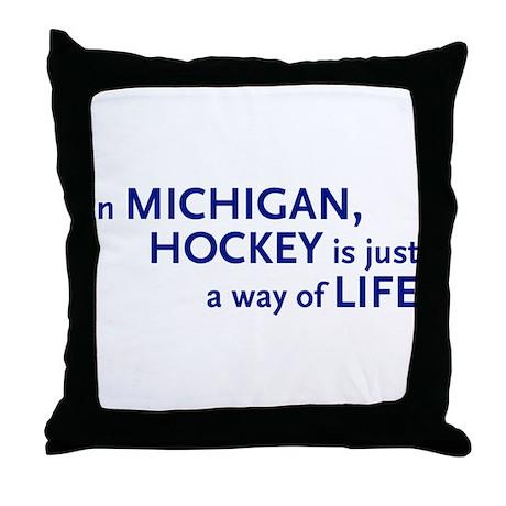 Hockey Michigan Throw Pillow