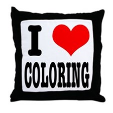 I Heart (Love) Coloring Throw Pillow