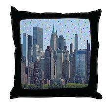 Manhattan Meteor Shower Throw Pillow