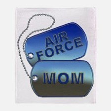 Air Force Mom - Mother Dog Tag Throw Blanket