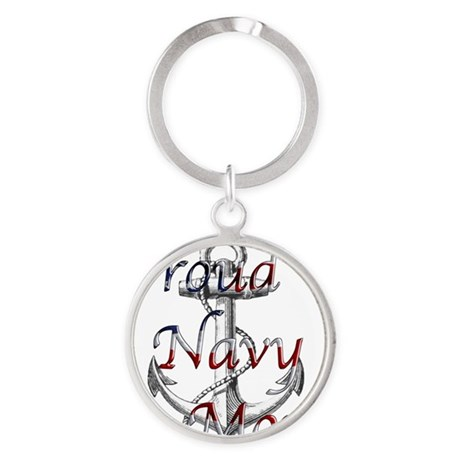 Proud Navy Mom Round Keychain