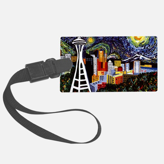 Seattle Starry Night Luggage Tag