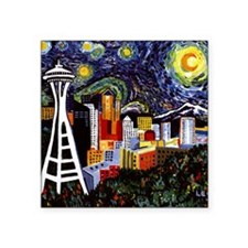 "Seattle Starry Night Square Sticker 3"" x 3"""