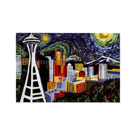 Seattle Starry Night Rectangle Magnet