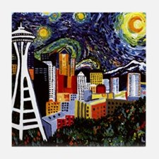 Seattle Starry Night Tile Coaster
