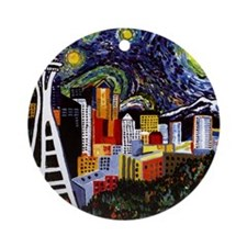 Seattle Starry Night Round Ornament